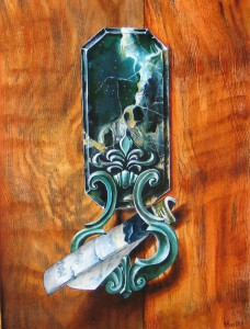 CRAFT WORK ANCIENT LOCK WITH PORTFOLIO OF MARINA OIL PAINT ON THE WOOD PANEL