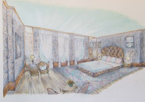 5 SCETCH OF INTERIOR DESIGN OF MEGA-YACHT