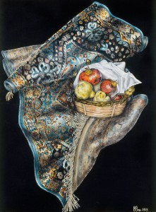 TURQUOISE SILK CARPET AND A FRUIT BASKET